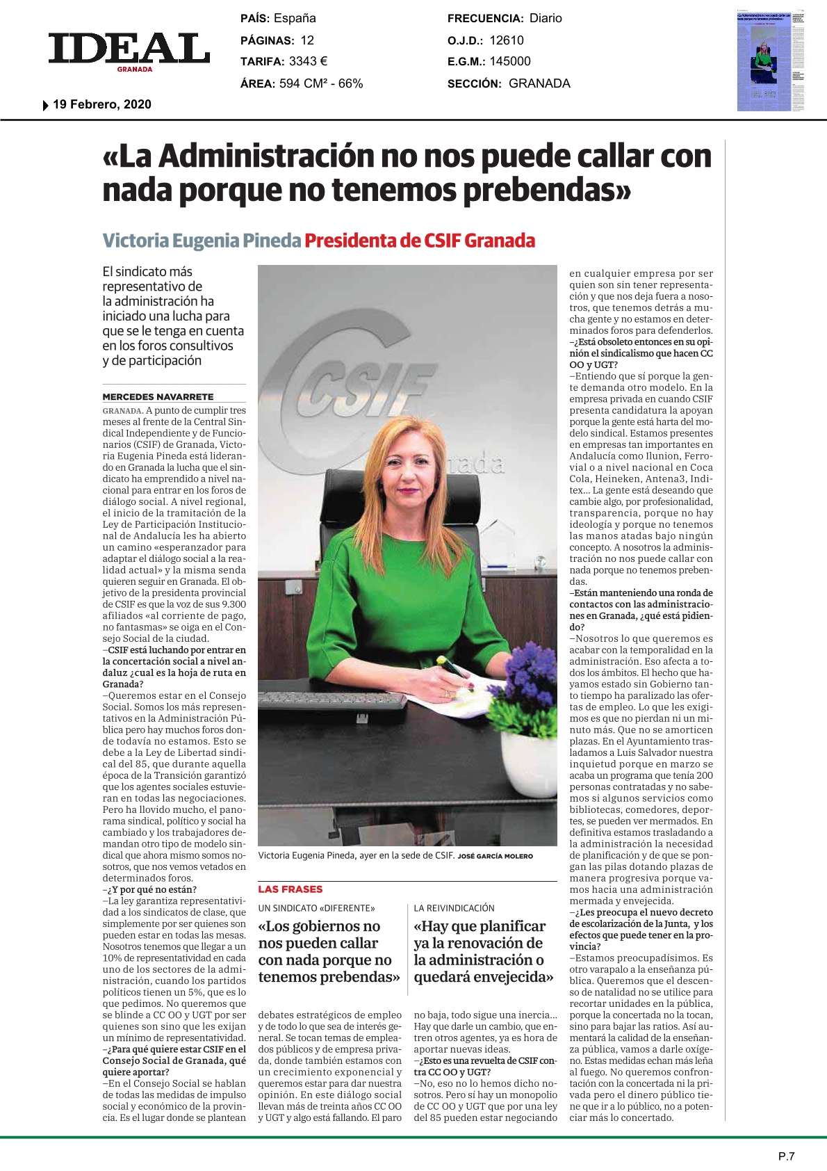 Entrevista presidenta CSIF Granada en IDEAL 19/2/2020