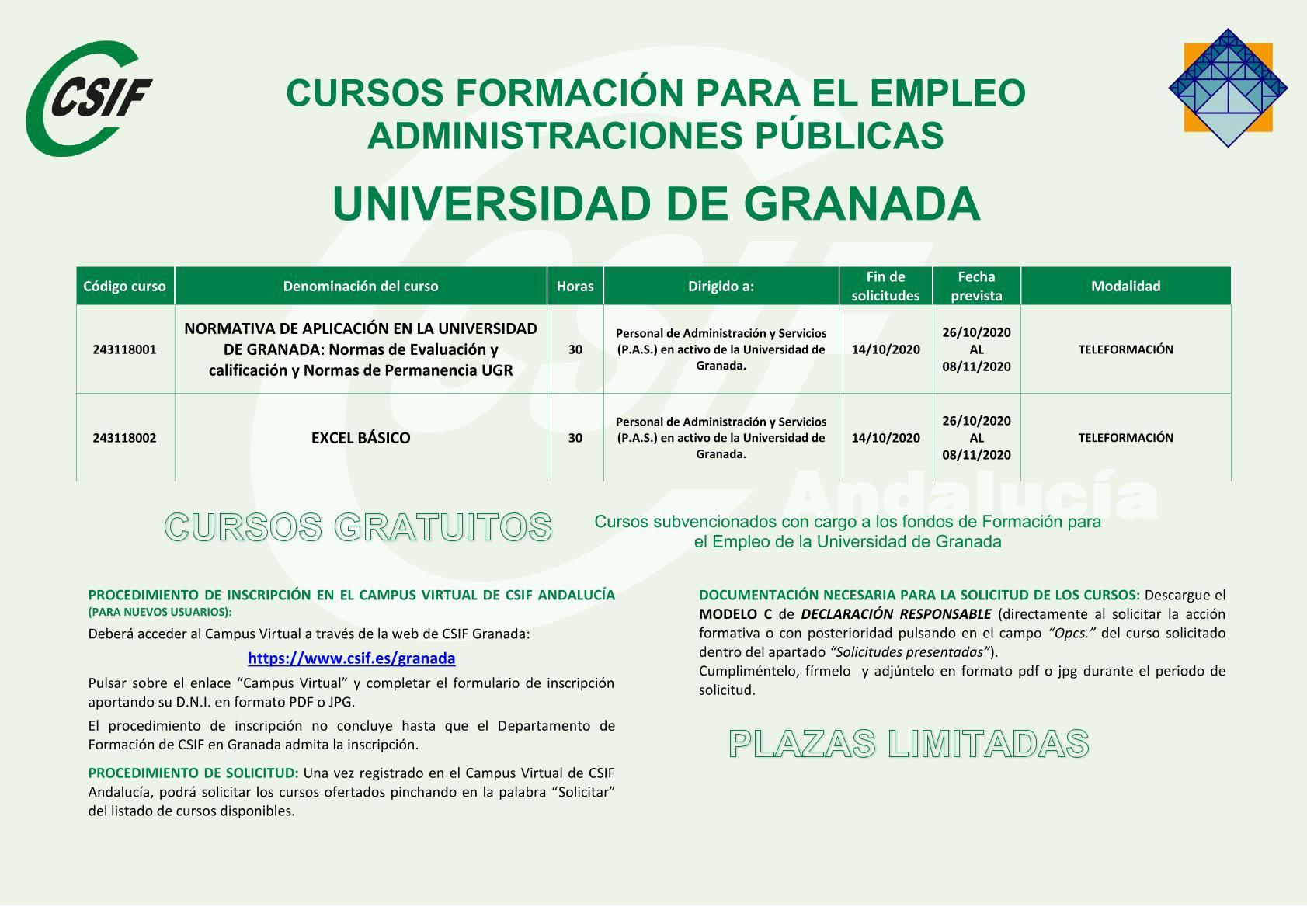 CURSOS FORMACIÓN PARA EL EMPLEO ADMINISTRACIONES PÚBLICAS - UNIVERSIDAD DE GRANADA