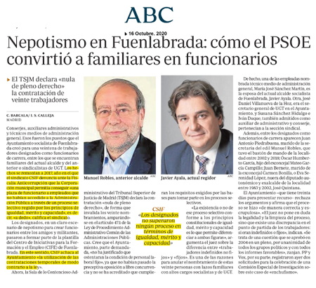 ABC CSIF.- Nepotismo en Fuenlabrada