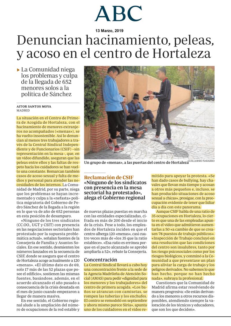 ABC. Hacinamiento, peleas y acoso en el centro de Hortaleza según CSIF