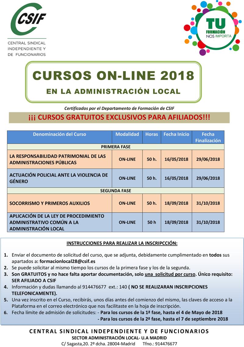 CURSOS ON-LINE CSIF MADRID 2018