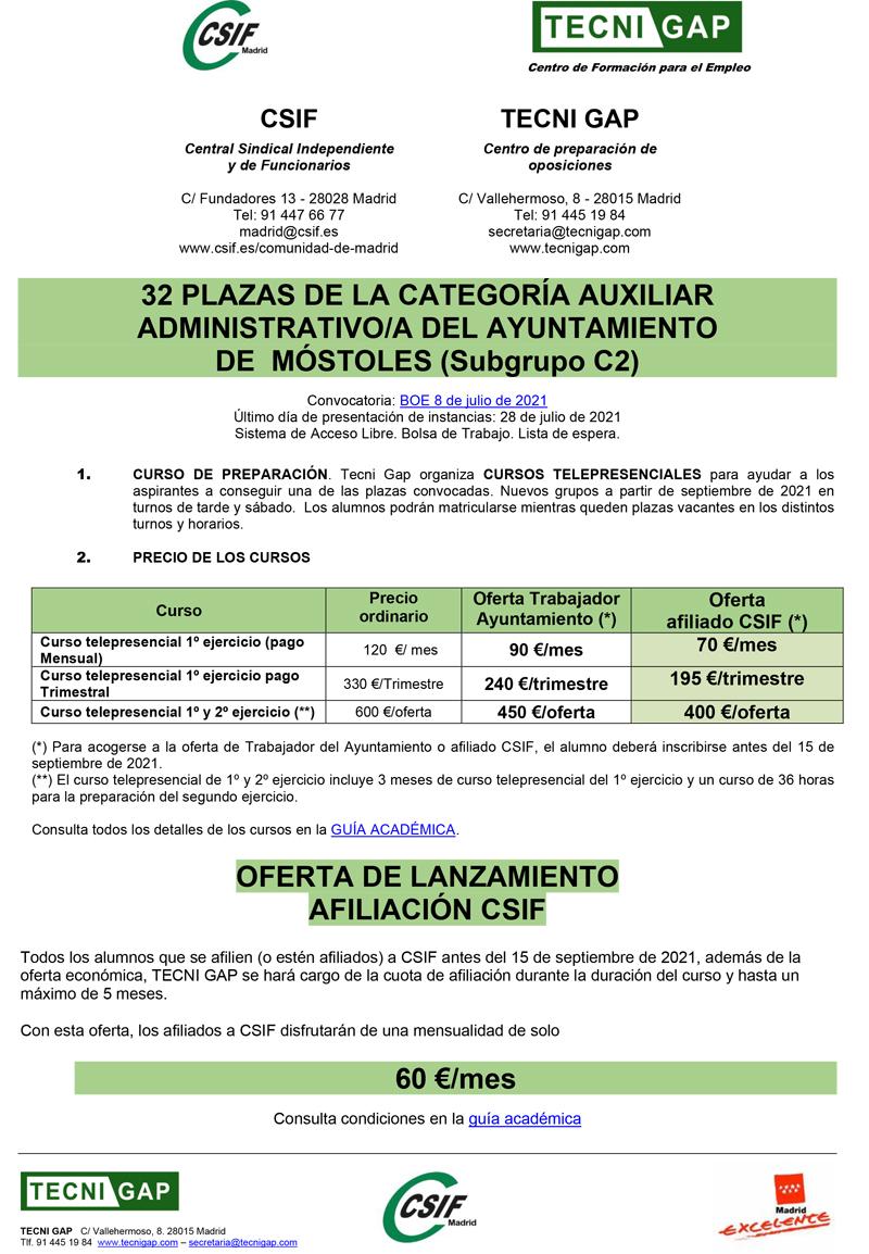 Cartel CSIF Aux Adtvo Móstoles