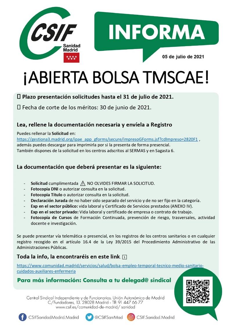 CSIF Informa: abierta bolsa TMSCAE