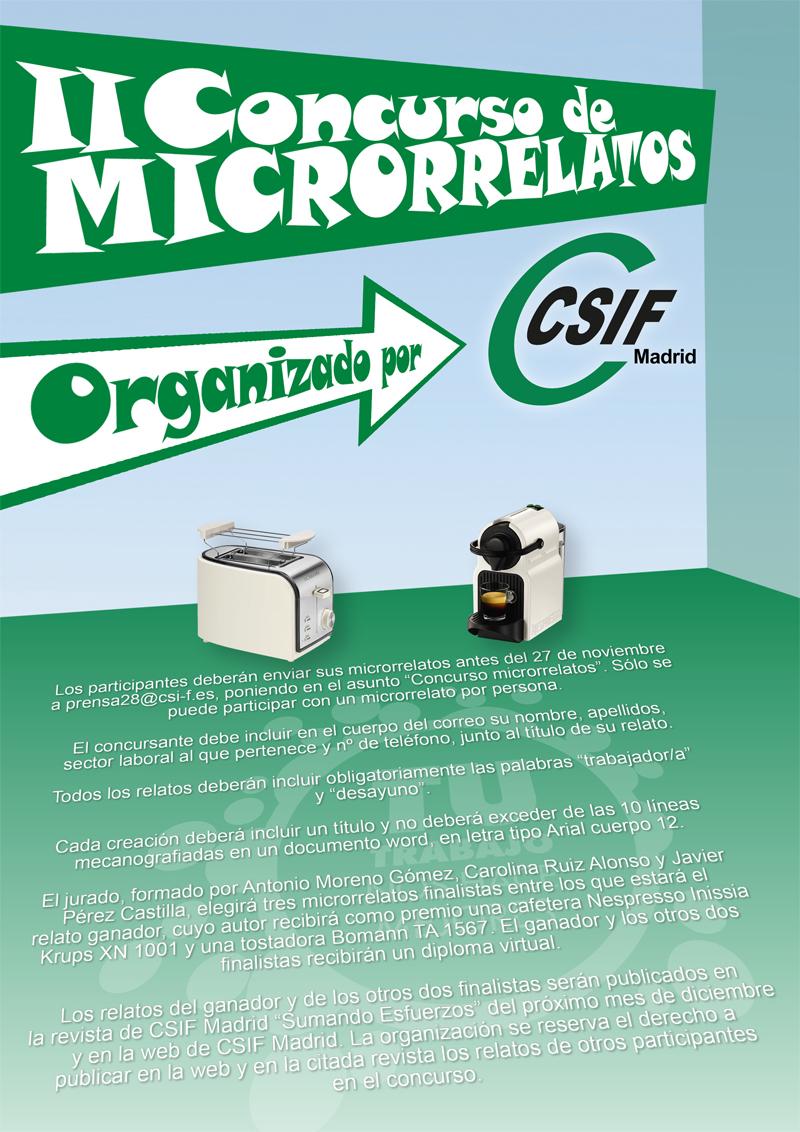 Cartel II Concurso Microrrelatos CSIF Madrid - 2017