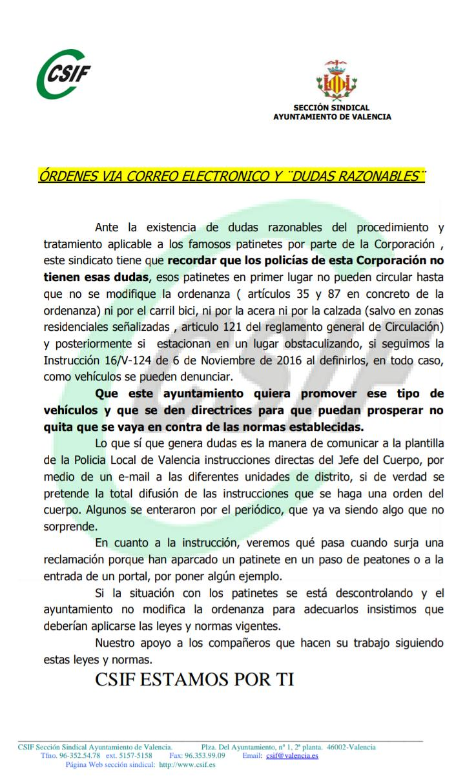 Comunicado CSIF sobre patinetes en Valencia