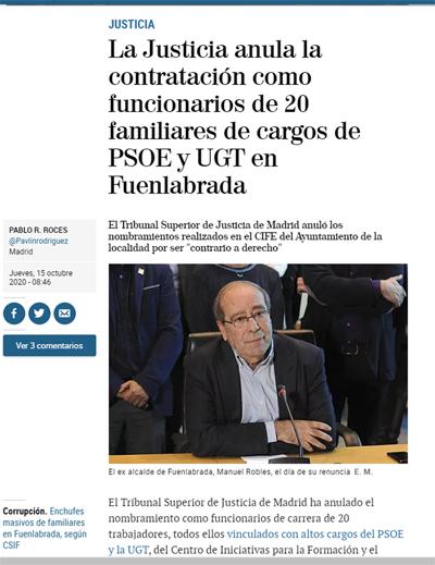 TSJM anula nombramientos Ayto Fuenla victoria CSIF