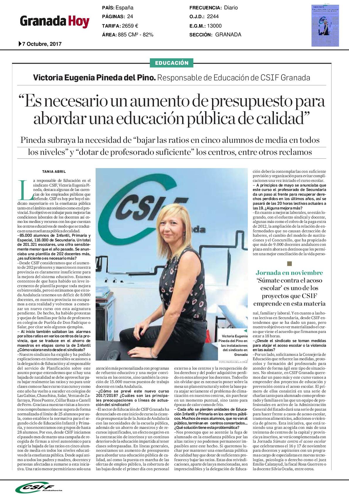 Entrevista responsable Educación CSIF Granada