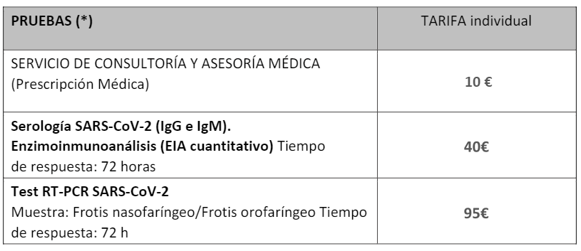 Tabla de precios pruebas serológicas y PCR para afiliados CSIF CLM.png