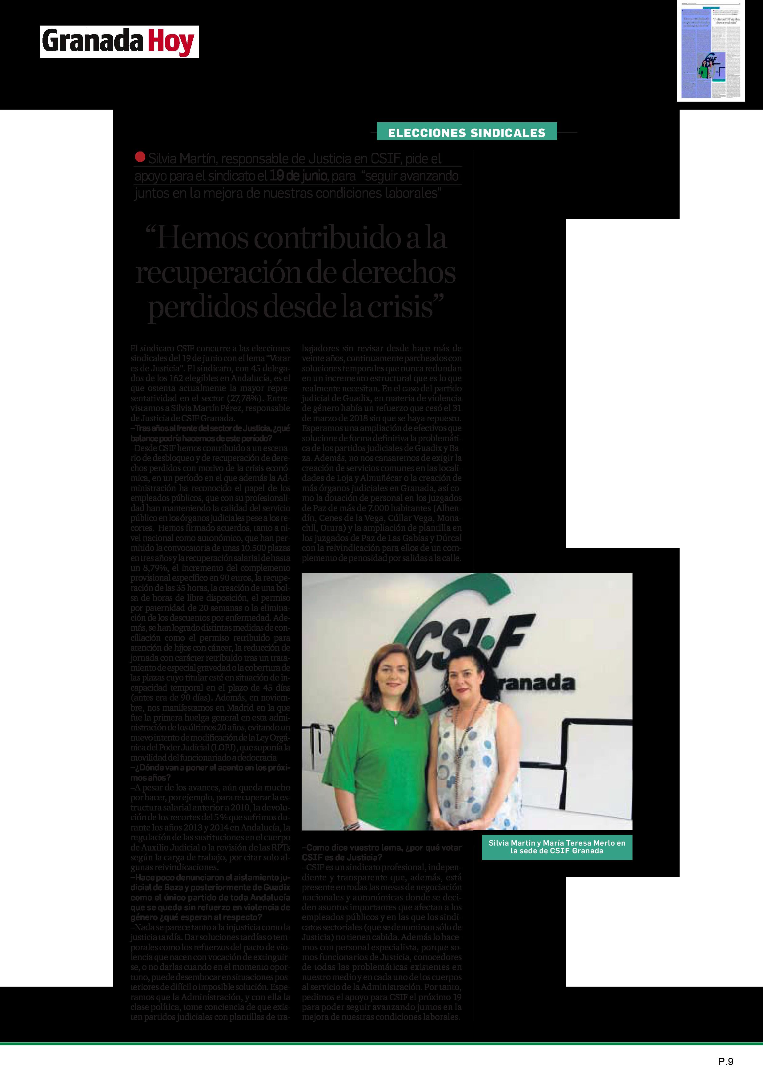 Elecciones sindicales Justicia CSIF Granada