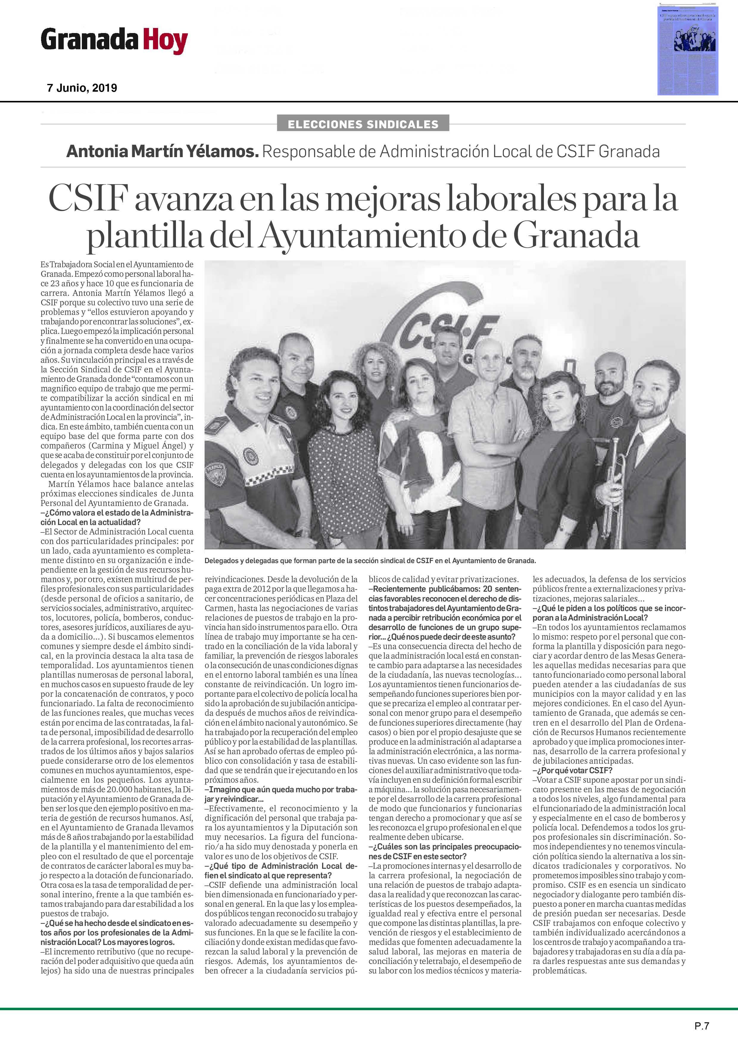 CSIF avanza en las mejoras laborales para la plantilla del Ayuntamiento de Granada
