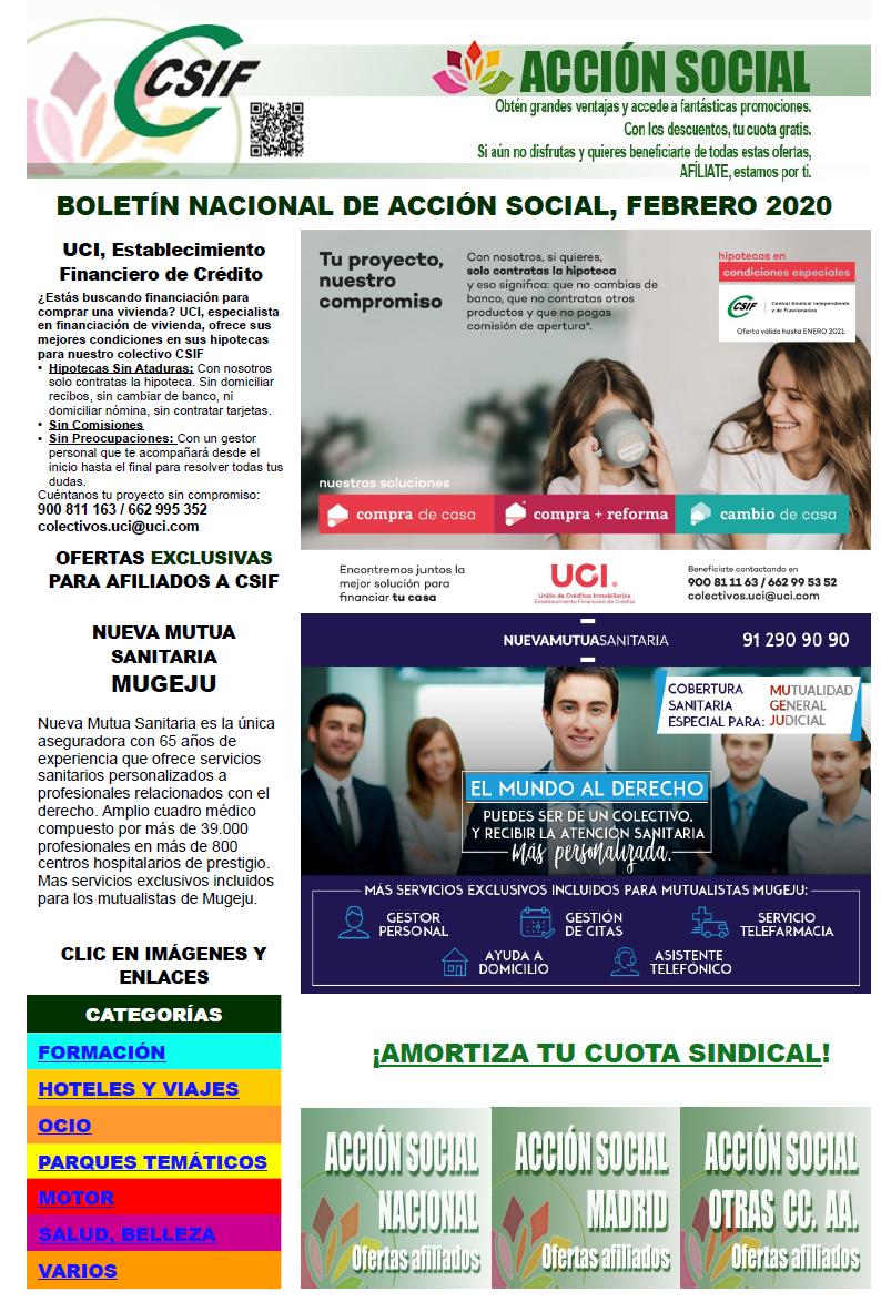 Boletín Acción Social · Febrero 2020