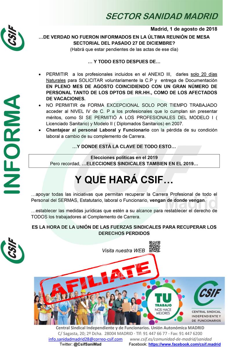 Cartel CSIF Carrera Profesional SERMAS II