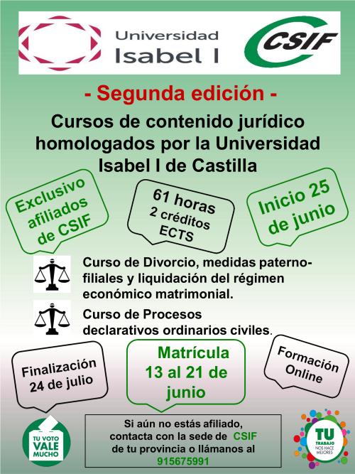 cartel cursos de contenido jurídico
