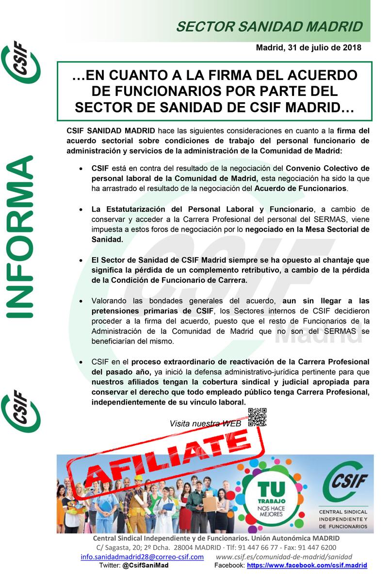 CSIF Sanidad Madrid sobre Acuerdo de Funcionarios