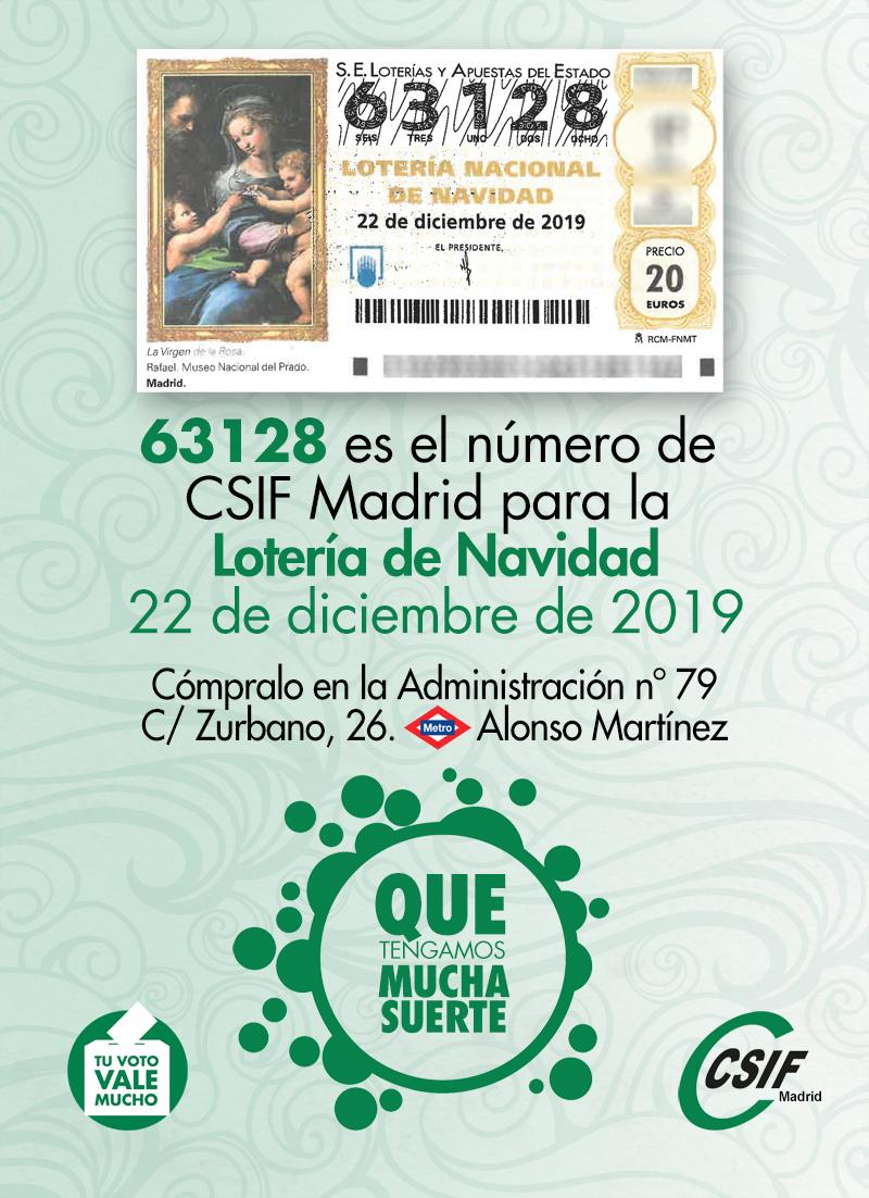Lotería Navidad 2019 CSIF Madrid