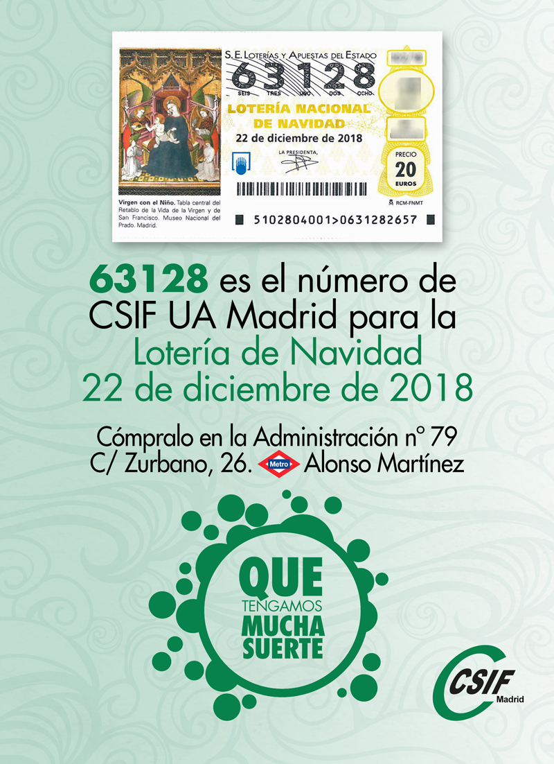 Lotería Navidad 2018 CSIF Madrid