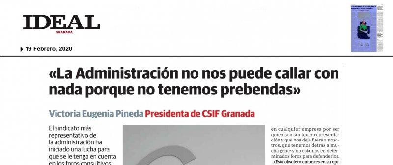 Entrevista a la presidenta de CSIF Granada, Victoria Eugenia Pineda, en IDEAL