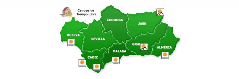 Mapa de Andalucía indicando las ubicación de las Residencias de Tiempo Libre existente en Andalucía