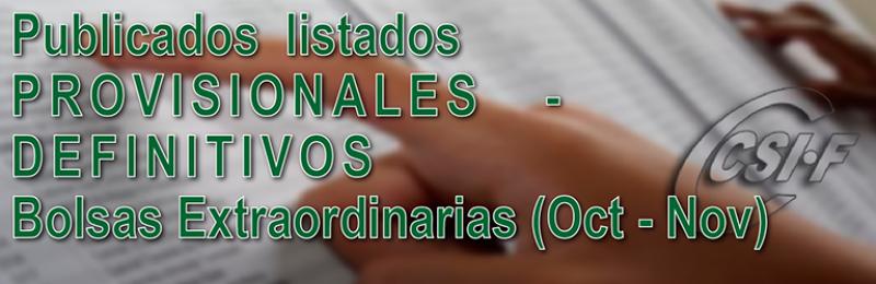 Publicadas listas PROVISIONALES y DEFINITIVAS de las Bolsas Extraordinarias de Noviembre (597) y Octubre (590-591)