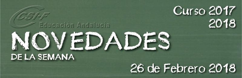 Andalucía - Novedades de la Semana 26/2/2018