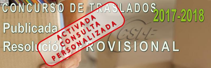 Publicada la Resolución PROVISIONAL del Concurso de Traslados 2017-2018