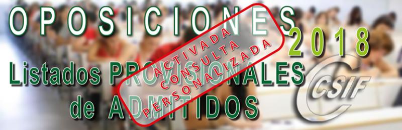 Lista Provisional de Admitidos y Excluidos en las Oposiciones de Secundaria, FP y ERE´s 2018