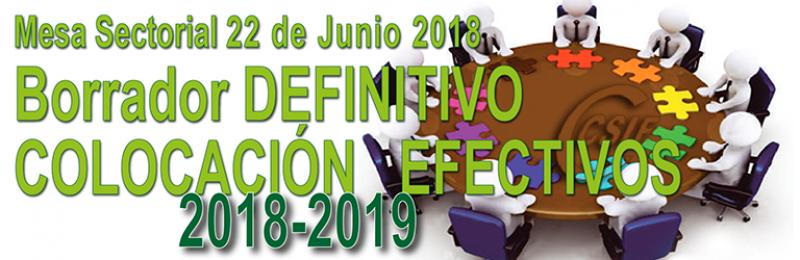 Borrador DEFINITIVO  de la COLOCACIÓN DE EFECTIVOS 2018-2019