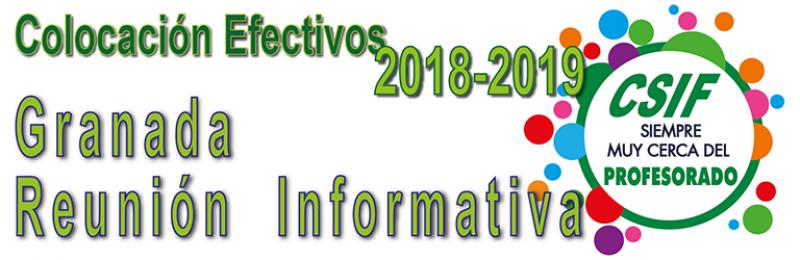Granada - REUNIÓN INFORMATIVA - Colocación de Efectivos 2018-2019