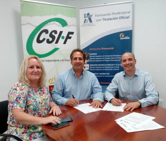 CSIF firma un acuerdo con CESUR para realizar estudios de FP de Grado Medio y Superior en las modalidades de Presencial, Dual y a Distancia