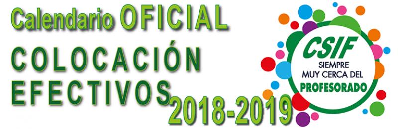 Calendario OFICIAL Colocación de Efectivos 2018-2019
