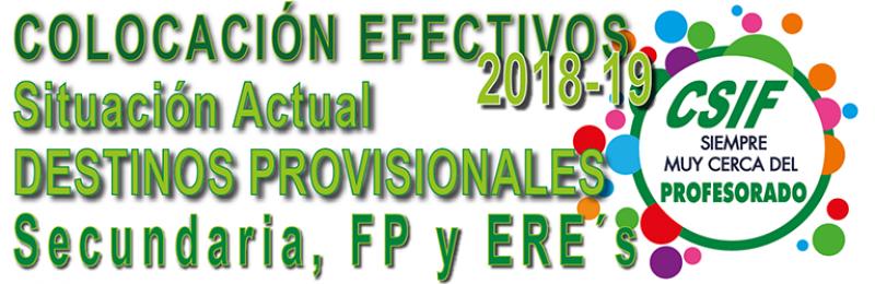SITUACIÓN ACTUAL DE LOS DESTINOS PROVISIONALES DE SECUNDARIA