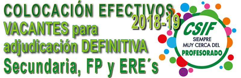 VACANTES INICIALES PARA LA ADJUDICACIÓN DEFINITIVA DE SECUNDARIA, FP y ERE´s Curso 2018-2019