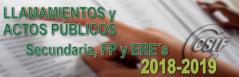 LLAMAMIENTOS Y ACTOS PÚBLICOS PARA COLOCACIÓN DE SECUNDARIA, FP y ER´s