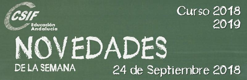 Andalucía - Novedades de la Semana 24/9/2018