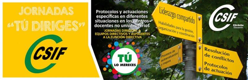 """Córdoba - Jornadas formativas """"TÚ DIRIGES - Protocolos y actuaciones específicas en diferentes situaciones en los centros docentes no universitarios"""""""