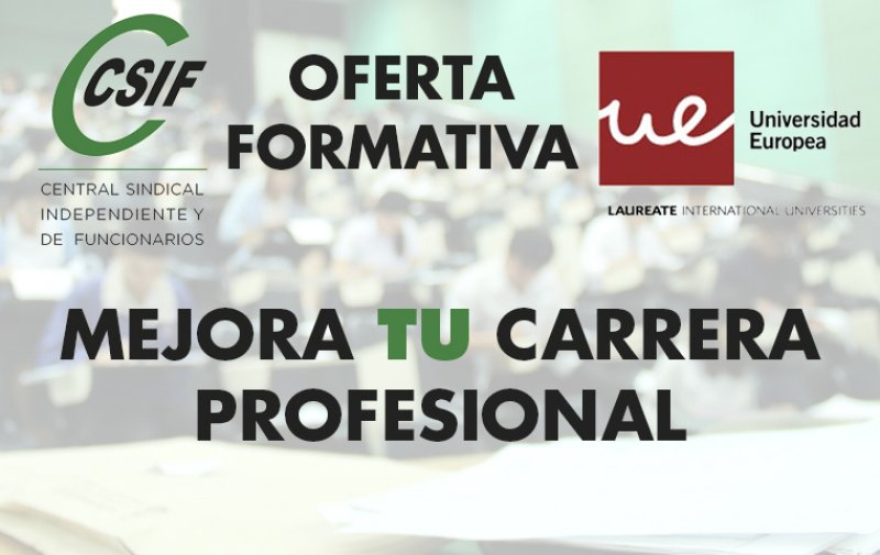 Oferta Formación para Afiliados: CSIF - Universidad Europea.
