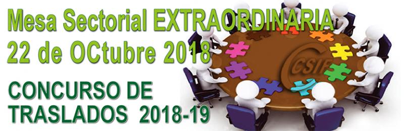 Mesa Sectorial EXTRAORDINARIA  22-10-2018 -- CONCURSO DE TRASLADOS 2018-2019