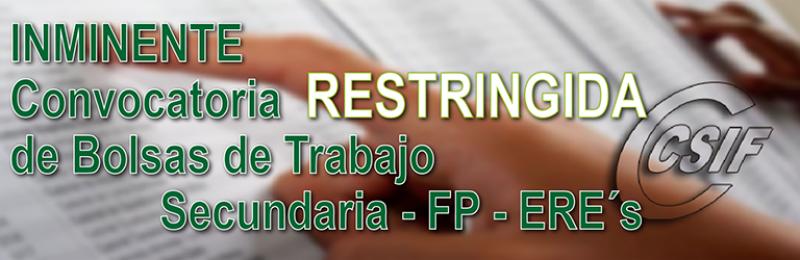 INMINENTE CONVOCATORIA DE BOLSAS RESTRINGIDAS