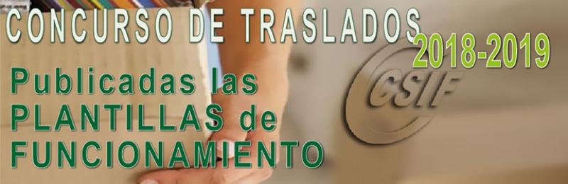 Publicadas las PLANTILLAS DE FUNCIONAMIENTO 2018-2019