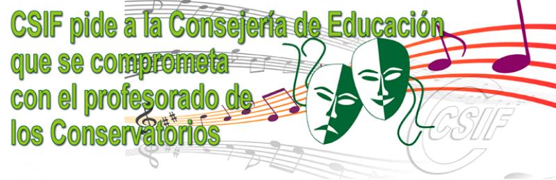 CSIF pide a la Consejería de Educación que se comprometa con el profesorado de los Conservatorios
