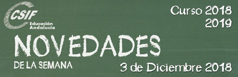Andalucía - Novedades de la Semana 3/12/2018