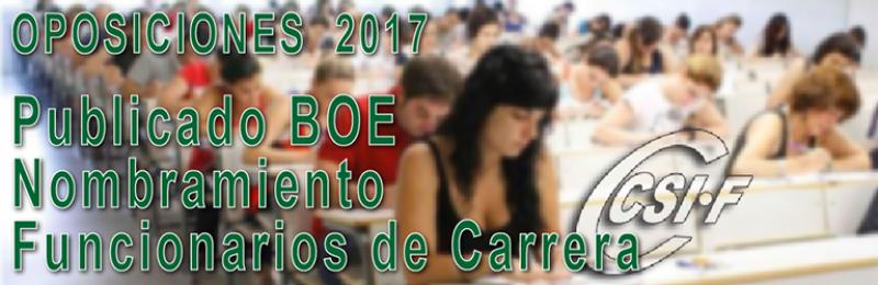 Publicado en BOE nombramiento de Funcionarios de Carrera a los seleccionados en las oposiciones de 2017 (Cuerpo de Maestros)