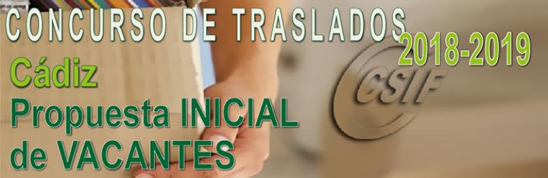 Cádiz - Propuesta INICIAL de Vacantes Concurso de Traslados 2018-2019