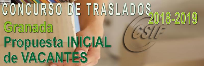 Granada - Propuesta INICIAL de Vacantes Concurso de Traslados 2018-2019