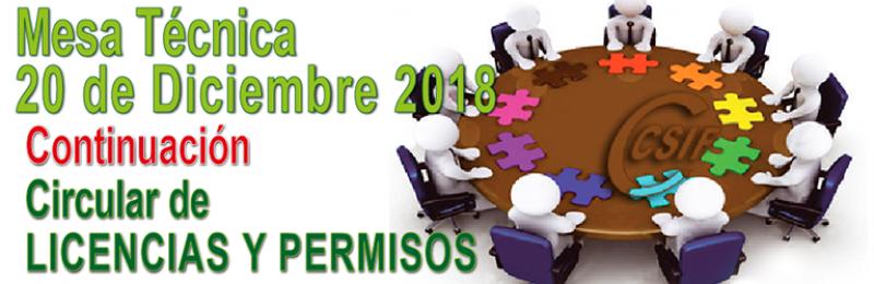Mesa Técnica 20-12-2018 -- CONTINUACIÓN - CIRCULAR DE LICENCIAS Y PERMISOS
