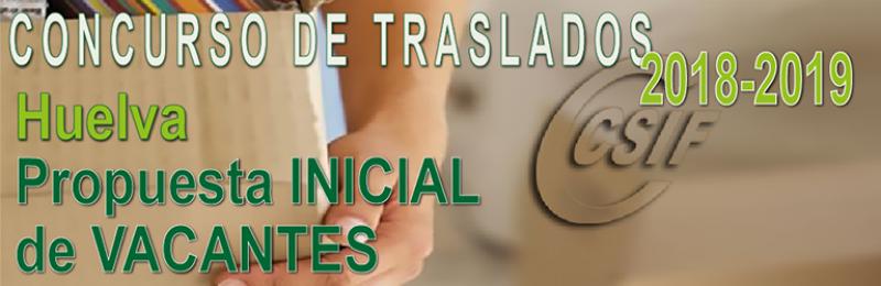 Huelva - Propuesta INICIAL de Vacantes Concurso de Traslados 2018-2019