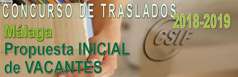Málaga - Propuesta INICIAL de Vacantes Concurso de Traslados 2018-2019