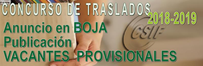 BOJA anunciando la publicación Vacantes PROVISIONALES para el Concurso de Traslados 2018-2019