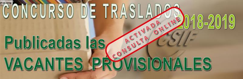 Publicadas las Vacantes PROVISIONALES del Concurso de Traslados -2018-2019