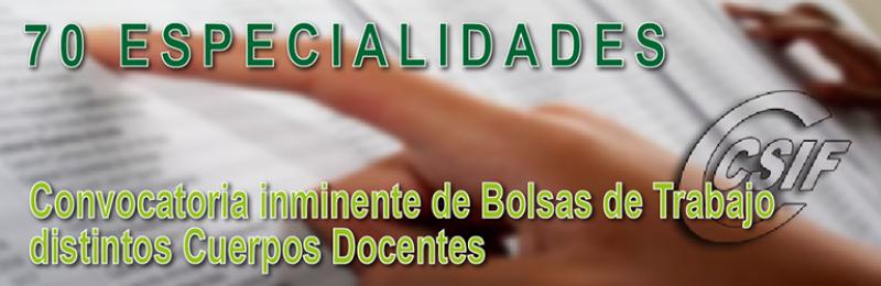 Especialidades de la convocatoria INMINENTE de BOLSAS